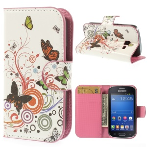 For Samsung Galaxy Trend Lite S7390 S7392 Vivid Butterfly Circle Stand Leather Protective Shell