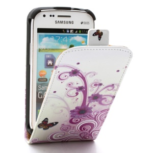 Rose Flora & Butterfly Vertical Flip Leather Case for Samsung Galaxy S Duos S7562 S7560 S7560M S7582 S7580