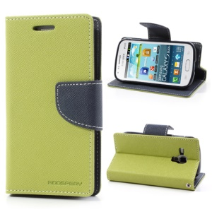 Goospery Fancy Diary Leather Case for Samsung Galaxy S Duos S7562 S7560 S7560M - Dark Blue / Green