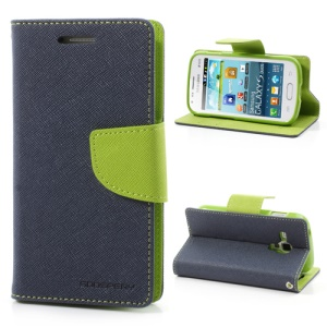 Goospery Fancy Diary Leather Wallet Case for Samsung Galaxy S Duos S7562 S7560 S7560M - Green / Dark Blue