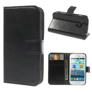 Black Crazy Horse Leather Wallet Cover for Samsung Galaxy S Duos S7562 / Ace II X S7560M S7560 / S7580 / S7582