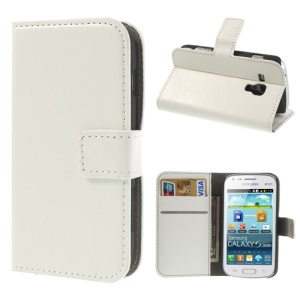 White Crazy Horse Leather Wallet Cover for Samsung Galaxy S Duos S7562 / Ace II X S7560M S7560