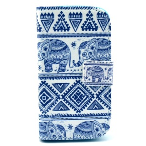 Tribal Tribe Elephant Leather Wallet Case for Samsung Galaxy S Duos S7562 / Trend S7560 / Ace II X S7560M