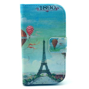 Eiffel Tower & Hot-air Balloon Stand Leather Cover for Samsung Galaxy S Duos 2 S7582 / Trend Plus S7580