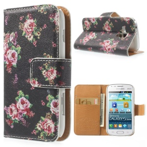 Rose Blossom Stand Leather Wallet Cover for Samsung Galaxy S Duos S7562 / Trend S7560 / Ace II X S7560M - Black