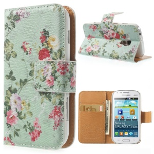 Fresh Flowers Magnetic Leather Stand Case for Samsung Galaxy S Duos S7562 - Cyan