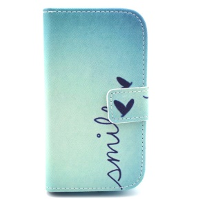 Smile Love Heart Wallet Leather Stand Cover for Samsung Galaxy S Duos S7562 S7582 S7560