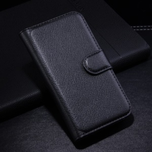 Lychee Grain PU Leather Wallet Case Stand for Vodafone Smart 4 mini - Black