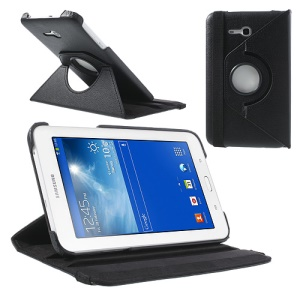 Black Rotary Stand Lychee Leather Case for Samsung Galaxy Tab 3 7.0 Lite T110 T111 w/ Elastic Band