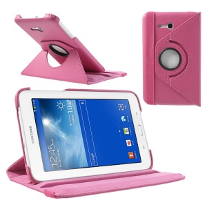 Rose Rotary Stand Lychee Leather Cover for Samsung Galaxy Tab 3 7.0 Lite T110 T111 w/ Elastic Band