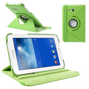 Green Rotary Stand Lychee Leather Cover for Samsung Galaxy Tab 3 7.0 Lite T110 T111 w/ Elastic Band