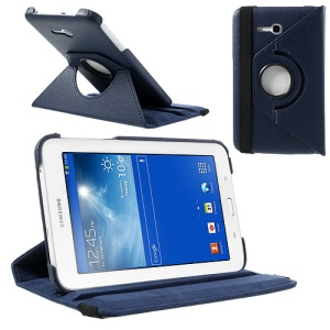 Dark Blue for Samsung Galaxy Tab 3 7.0 Lite T110 T111 Rotary Stand Lychee Leather Cover w/ Elastic Band
