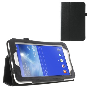 Black Lychee Folio Leather Stand Cover for Samsung Galaxy Tab 3 7.0 Lite T110 T111
