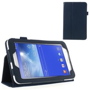 Dark Blue Lychee Folio Leather Stand Case for Samsung Galaxy Tab 3 7.0 Lite T111 T110