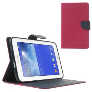 Mercury GOOSPERY Fancy Diary Leather Stand Cover for Samsung Galaxy Tab 3 7.0 Lite T110 T111 - Dark Blue / Rose