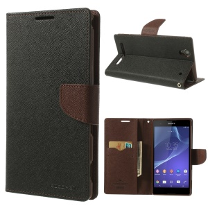 Mercury GOOSPERY Fancy Diary Leather Wallet Case for Sony Xperia T2 Ultra D5306 / Ultra dual D5322 - Brown / Black
