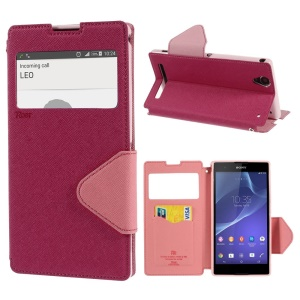 Rose Roar Korea Diary Window Leather Card Slot Cover for Sony Xperia T2 Ultra D5303 / dual D5322