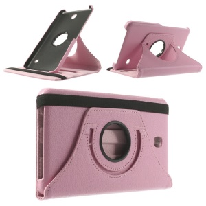 Pink Lychee PU Leather Shell w/ 360 Rotary Stand for Samsung Galaxy Tab 4 7.0 T230 T231 T235