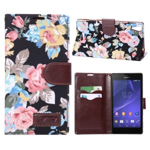 Pretty Flowers Cloth Skin PU Leather Stand Case for Sony Xperia T3 D5102 D5103 D5106 - Black