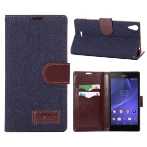 Black Blue Denim Jeans Cloth Leather Stand Case w/ Card Slots for Sony Xperia T3 D5102 D5103 D5106