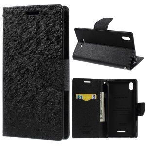 Mercury GOOSPERY Fancy Diary Leather Stand Case for Sony Xperia T3 D5102 D5103 D5106 - Black