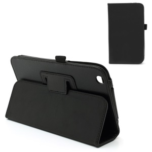 Black Litchi Grain Folio Leather Case Stand for Samsung Galaxy Tab 3 8.0 T3100
