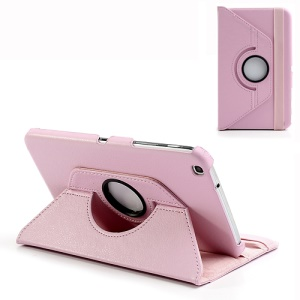 Pink 360 Rotation Stand Lychee for Samsung Galaxy Tab 3 8.0 T3100 Leather Case Cover