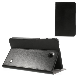 Black Magnetic Oracle Grain Leather Case w/ Stand & Card Slots for Samsung Galaxy Tab 4 8.0 T330