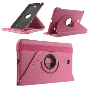 For Samsung Galaxy Tab 4 8.0 Rotary Litchi Leather Case w/ Stand and Elastic Band - Rose