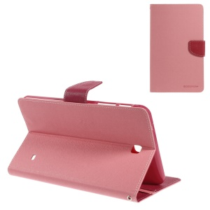 Mercury GOOSPERY Fancy Diary Series Leather Stand Case Shell w/ Card Slots for Samsung Galaxy Tab 4 8.0 T330 T331 T335 - Pink