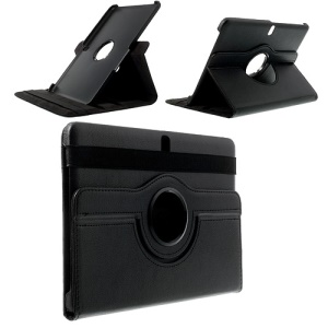 Black 360 Rotation Litchi Leather Stand Case for Samsung Galaxy Tab Pro 10.1 T520 T525