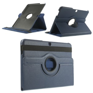 Deep Blue for Samsung Galaxy Tab 4 10.1 T530 Litchi Leather Cover w/ 360 Degree Rotary Stand