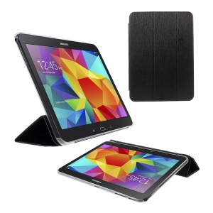 Vertical Stripes Tri-fold Stand Leather Case for Samsung Galaxy Tab 4 10.1 T530 T531 T535 - Black