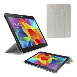 Vertical Stripes Tri-fold Stand Leather Case for Samsung Galaxy Tab 4 10.1 T530 T531 T535 - White