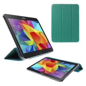 Vertical Stripes Tri-fold Stand PU Leather + PC Cover for Samsung Galaxy Tab 4 10.1 T535 - Cyan