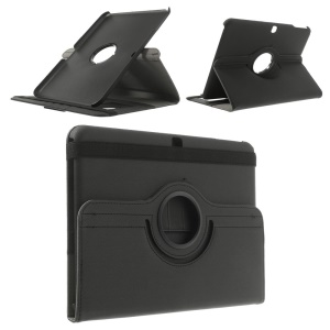 Rotary Twill Cloth Coated Leather Smart Cover for Samsung Galaxy Tab 4 10.1 T530 T531 T535 w/ Card Slots - Black
