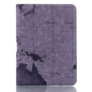 Grey World Map Leather Stand Folio Cover for Samsung Galaxy Tab 4 10.1 T531 T530 T535