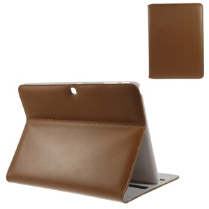 Doormoom Genuine Leather Stand Smart Folio Case Shell for for Samsung Galaxy Tab 4 10.1 T531 T530 T535 - Brown