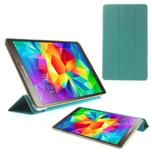 Toothpick Grain Tri-fold Leather Cover for Samsung Galaxy Tab S 8.4 T700 T705 w/ Stand - Blue