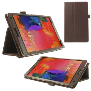 Litchi Folio Leather Cover Shell for Samsung Galaxy Tab S 8.4 T700 T705 w/ Stand - Coffee