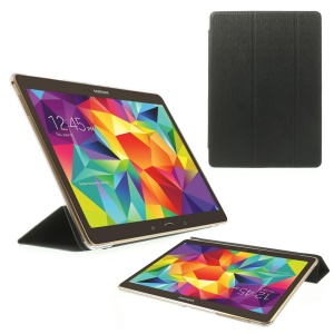Black Toothpick Grain Tri-fold Leather Cover for Samsung Galaxy Tab S 10.5-inch T800 T805 w/ Stand