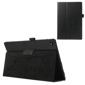 Litchi Leather Folio Smart Case for Sony Xperia Tablet Z with Stand - Black