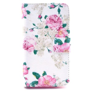 PU Leather Case Card Holder for Huawei Ascend Y300 U8833 - Elegant Peony