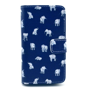 PU Leather Cover for Huawei Ascend Y300 U8833 - White Elephant Blue Background