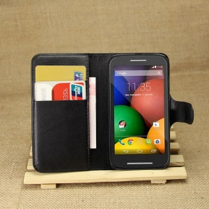 Black Litchi Leather Wallet Stand Cover for Motorola Moto E XT1021 / Dual SIM XT1022