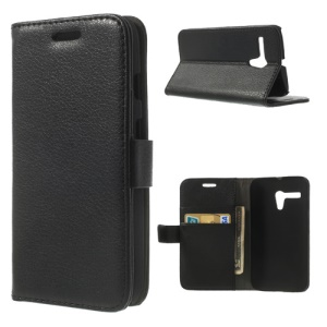 Black for Motorola Moto G DVX XT1032 Litchi Wallet Leather Phone Case Stand