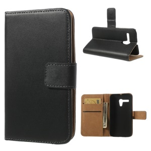 Black for Motorola Moto G DVX XT1032 Split Genuine Leather Wallet Case Stand
