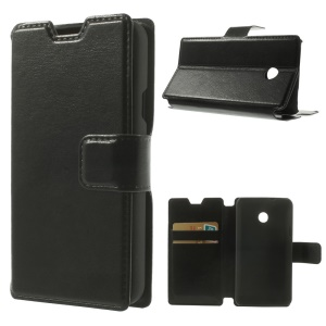 Smooth Crazy Horse Flip PU Leather Card Holder Case for Huawei Ascend Y330 - Black