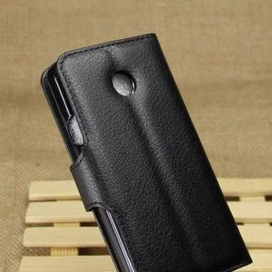 Litchi PU Leather Wallet Case with Stand for Huawei Ascend Y330 - Black