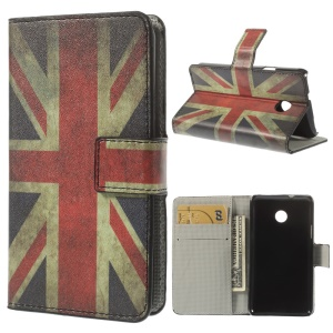 Retro Union Jack Flag Leather Wallet Case w/ Stand for Huawei Ascend Y330